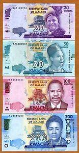 Set, Malawi, 20; 50; 100; 200 Kwacha, 2016, P-neu, UNC
