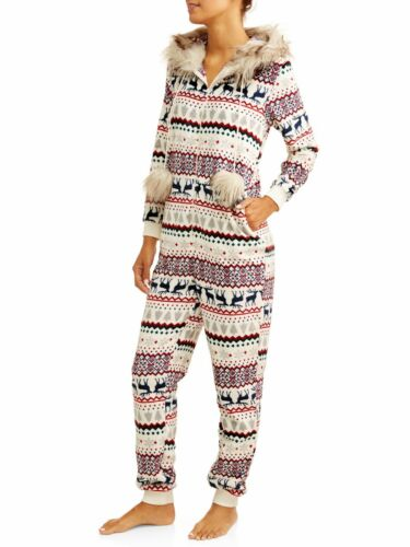 One Piece Union Suit Fair Isle Pajamas FUR HOOD Small,Medium,Large,Plus 2X Women