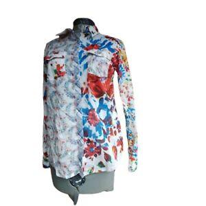 Desigual Womens Patchwork Wild Flowers & Rose Buds Snap Down Shirt Size Medium