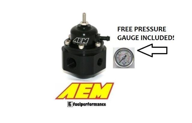 AEM Universal Adjustable Fuel Pressure Regulator & Free Gauge #25-302BK