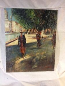 Painting-People-Walking-Oil-amp-Canvas-Not-Antique-C5pics4size-details-amp-MAKE-OFFER