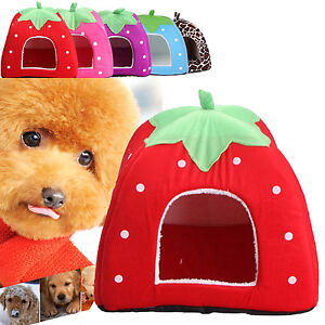 Foldable-Soft-Warm-Strawberry-Kennel-Bed-Nest-House-For-Pet-Dog-Cat-Piggy-Mat