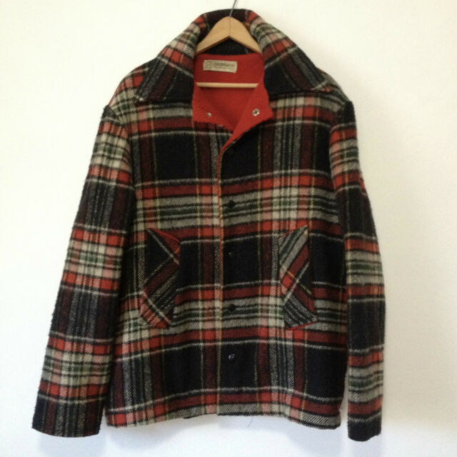 Vintage Deerskin Trading Post Wool Blend Plaid Coat Black Red Cream
