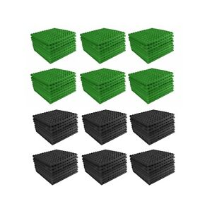 Acoustic-Foam-96-pack-Light-Green-Charcoal-Gray-Pyramid-Studio-12x12x1-tiles