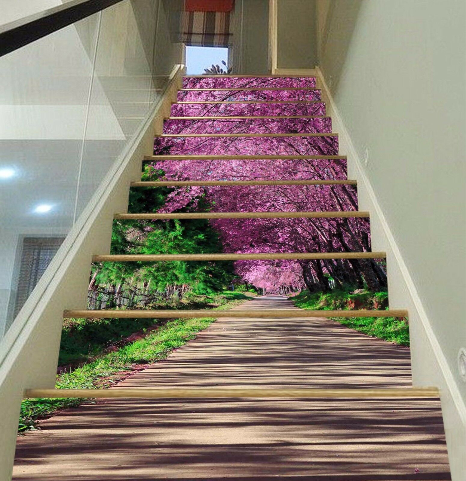 3D Road Flower Tree Stair Risers Decoration Photo Mural Vinyl Decal Wallpaper AU