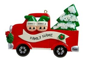 Red Pick Up Truck Ornament  Family of 3 Personalized Christmas Ornament  Christmas Table Top Decoration  Cute Gift For Grandparents