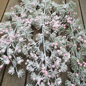 Frost-3-x-Beeren-Larix-Zweige-Stiele-46cm-Pflanze-Beerenzweig-Rosa-Geeist-Ast