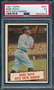 1961-Topps-Baseball-Babe-Ruth-Hits-60th-Homer-401-PSA-5-YANKEES-EX-HOF