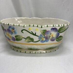 "Fitz and Floyd Classics Halcyon 8"" Oval Vegetable Bowl Embossed Pansies Spring"