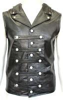 Mens Gents Black Steam Punk Rock Gothic Lace Corset Vest 100% Leather Waistcoat