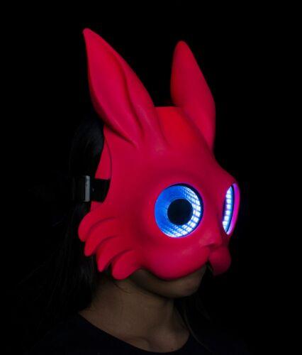 Burning Man Maschera Maschera Rave Coniglio ROSA UV LED SPECCHIO INFINITO Maschera Maschera LED