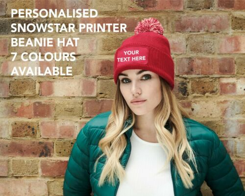 Personalised Printed Beanie Hat Pullover Pom Pom Wooley Hat Unisex Snowstar