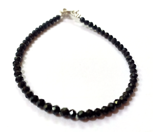 Natural Black Tourmaline Gemstone 3-4mm Faceted Rondelle Beaded Jewelry Necklace