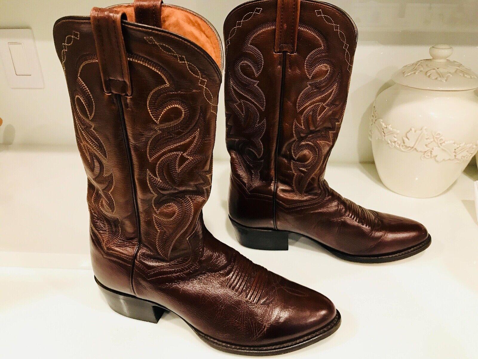Dan botas Zapatos-Western Cowboy Post-Cuero Genuino Hombres'S Talla 10EW marrón