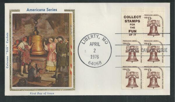 # 1595d LIBERTY BELL 1976 Colorano 'Silk' First Day Cover