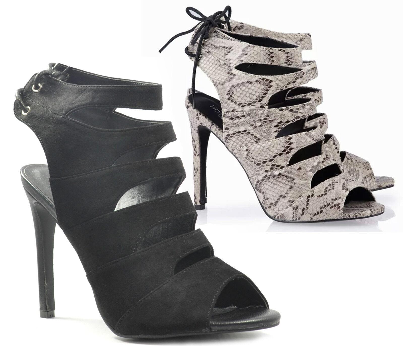 Ladies High Heel Strappy Lace Open Peep Toe Sandals Cut Ankle Tassel Fringe Size