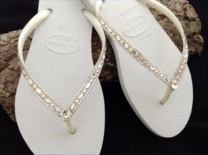 6be70ec1dc9 Image is loading Havaianas-Slim-Wedding-Flip-Flops-w-Swarovski-Crystal-