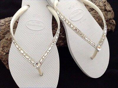 Havaianas Slim Wedding Flip Flops W Swarovski Crystal Bling Beach Bridal Shoes Ebay