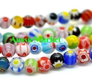 100-x-millefiori-glass-beads-balls-5mm-round-spacer-mixed-colours-lampwork-loose