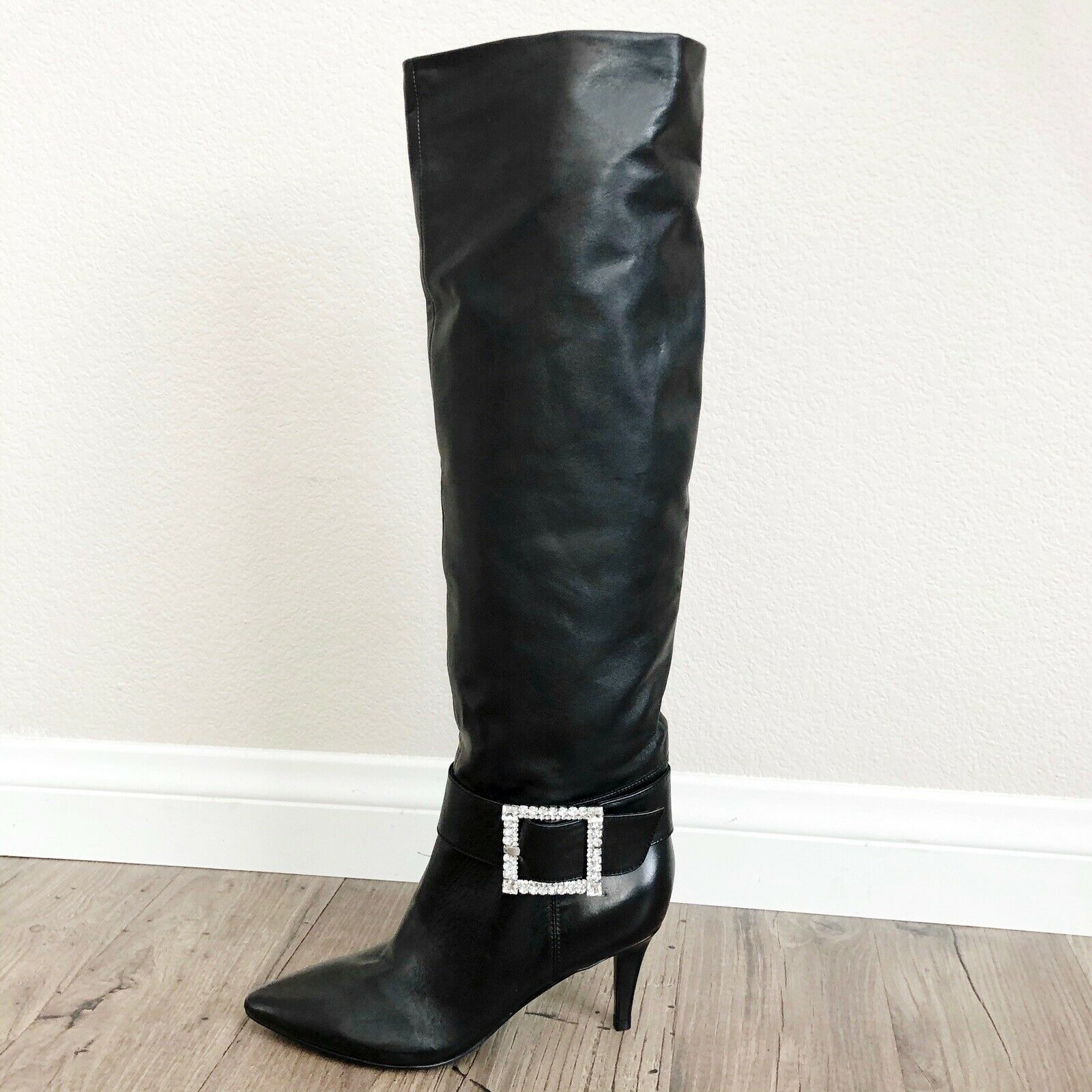 MARC FISHER Gresha Black Slouchy Over the Knee Boots Crystal Buckle LEFT ONLY 6