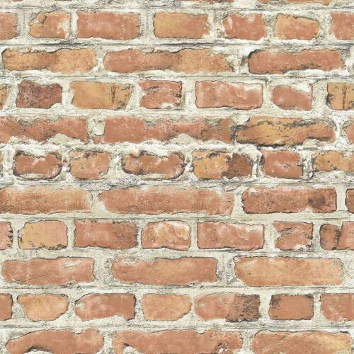 235203-Effet Brique-Rasch Wallpaper Marron Nouveau-Rouge