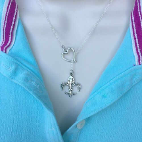 I Love French Fleur de Lis Handcrafted Lariat Style Y Necklace.
