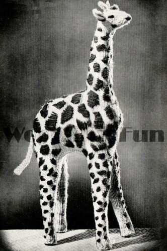 Vintage Toy 1940s Knitting Pattern Cute Georgie The Giraffe.