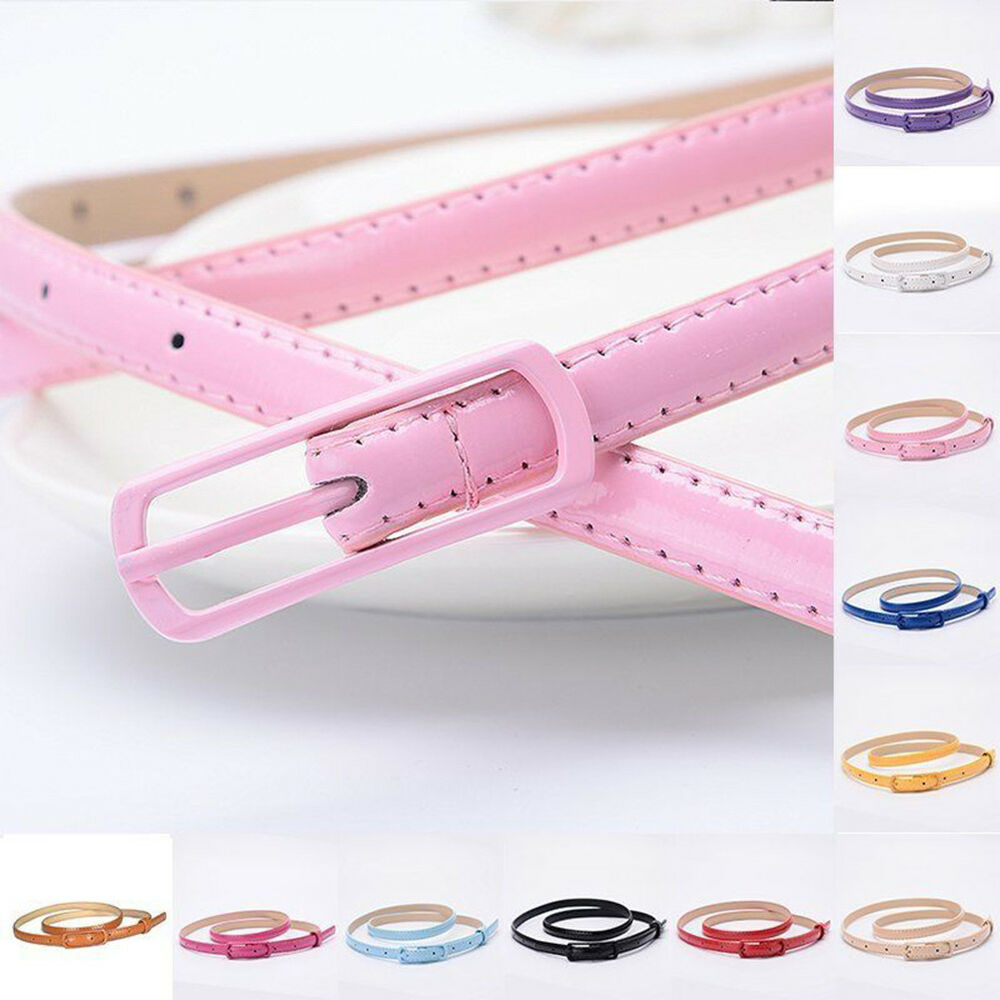HK- Women Lady Colorful Thin Skinny Waist Belt Patent Leather Narrow Waistband E Belts
