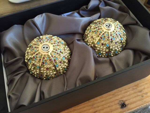 L'Objet 24K Gold Plated Salt & Pepper Shakers, Multi-color Swarovski Crystals