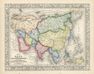 """1864 S.A. Mitchell """"Map of Asia showing its Gt. Political Divisions.""""-original"""