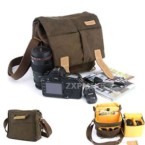 Image Is Loading Canvas Shoulder Messenger Camera Bag For Nikon D3300