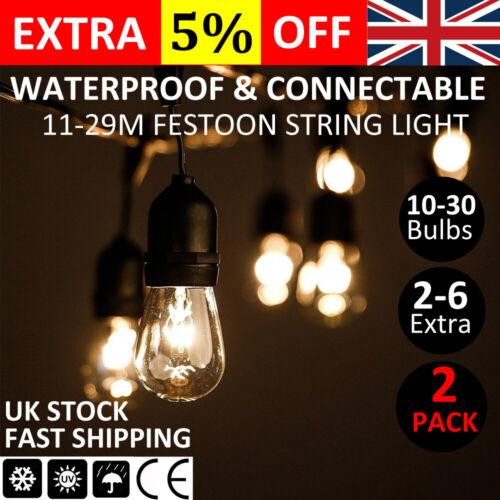 2x 11//20//29m Festoon Light Outdoor Lighting Garden String Main Heavy Duty Rustic