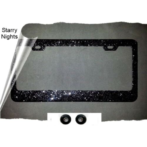 2018 BEST SELLER  BLACK glitter  License Plate frame rhinestone cap