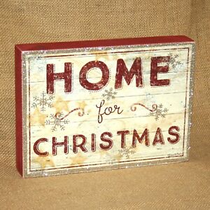 Home For Christmas Wood Box Sign Wall or Table Picture Primitives by Kathy