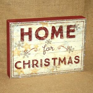 Home-For-Christmas-Wood-Box-Sign-Wall-or-Table-Picture-Primitives-by-Kathy