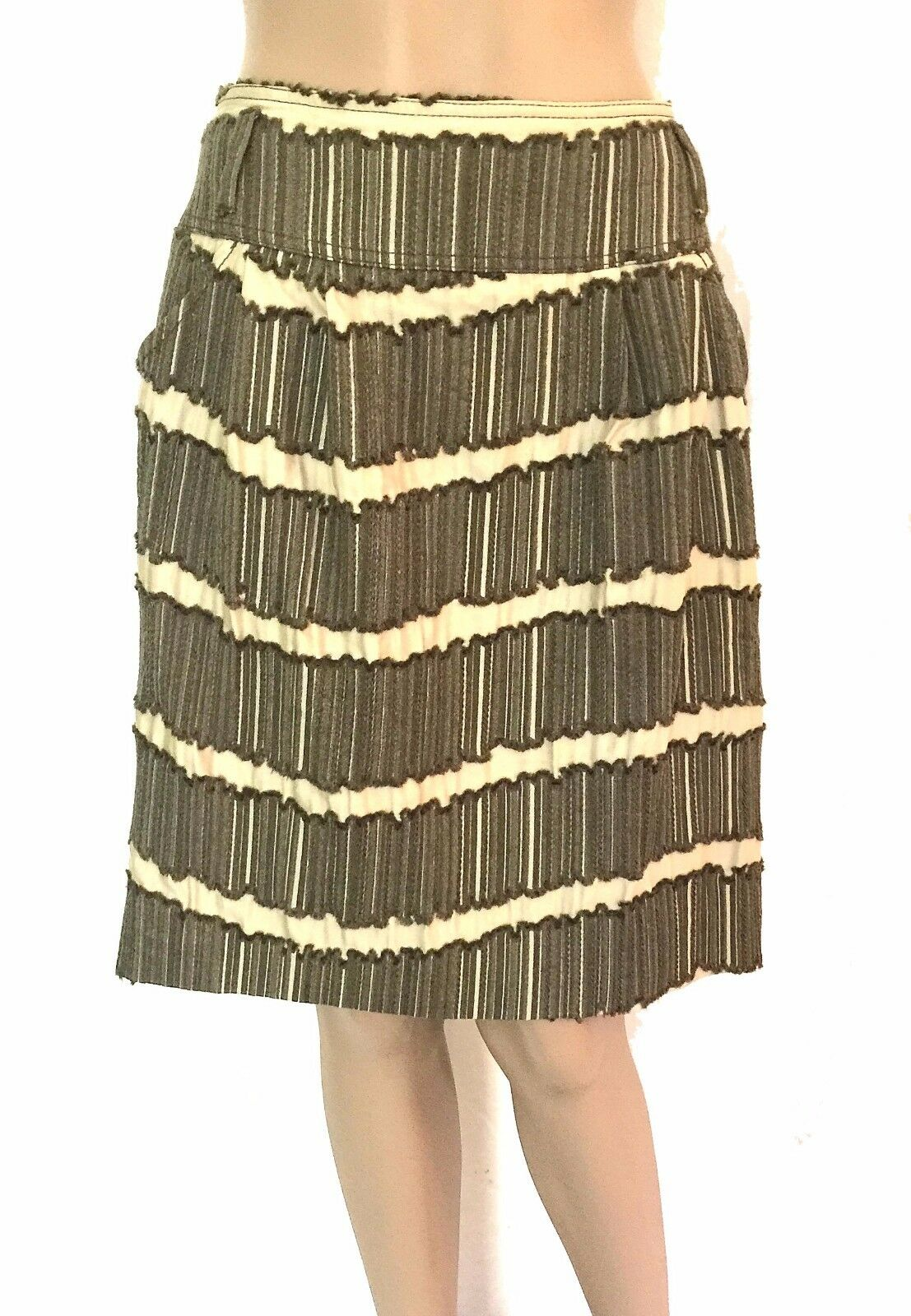 Piazza Sempione Olive Textured Wool Blend A-Line Skirt - Size 42 - US Size 8 EUC