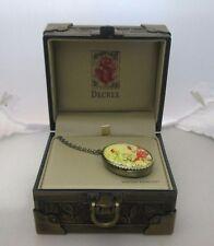 Decree Bird & Flowers Oval Shaped Locket/Pendant Watch Necklace NIB, DEC01