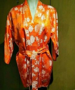 Satin-Short-Kimono-Embroidered-Metallic-Sz-Small-Medium-Japan-Fashion-Mart-1971