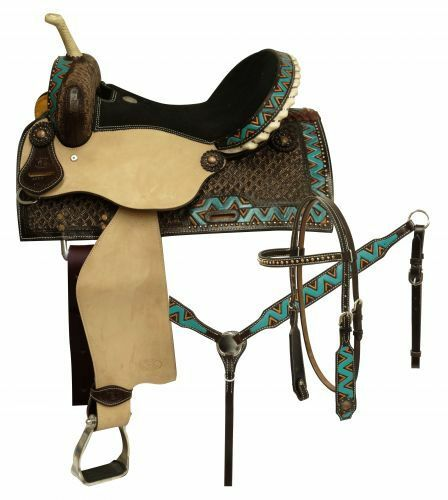 Circle S TEAL Zig Zag Dark Leather BARREL SADDLE Bridle Breastcollar & Reins SET
