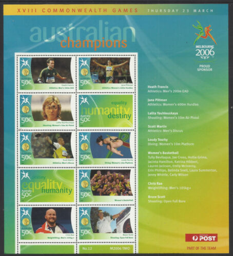AUSTRALIA 2006 COMMONWEALTH GAMES GOLD MEDAL Souvenir Sheet No 12 MNH
