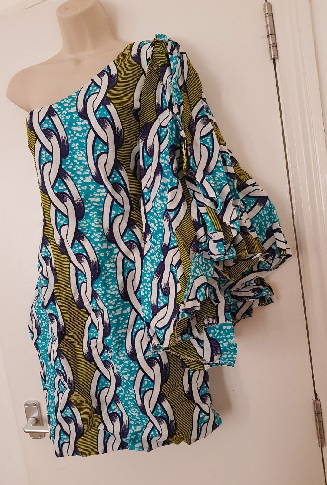 ONE SHOULDER AFRICAN PRINT SUN DRESS UK SIZE S M, Knee Length, FREE UK P&P