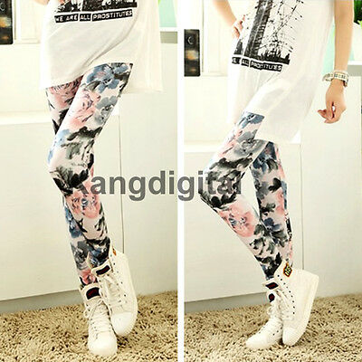 Fashion Womens Retro Flowers Floral Print Ink Painting Stretch  Leggings Pants