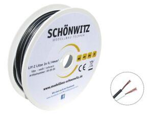 10m-Zwillingslitze-schwarz-weiss-2x-0-14mm-Litze-zweiadrig-Kabel-auf-Spule
