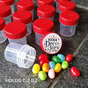 """50 Jars 1 1/4"""" Craft Drillable RED Caps Plastic 1/2 OZ  container 3304 DecoJars"""