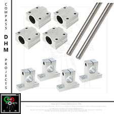 Kit guide lisce acciaio temprato rettificato Ø10 x2 500mm x4 SK10 SC10UU CNC 3D