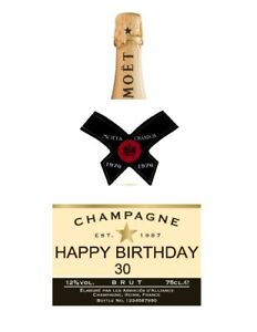 A4 DRINK LABEL'S CHAMPAGNE BOTTLE PERSONALISED EDIBLE ...
