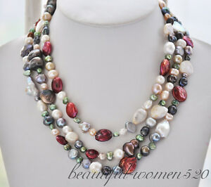 f2b14ee8198ff Details about Z6630 30mm keshi pearl multicolor coin baroque freshwater  pearl necklace 58inch