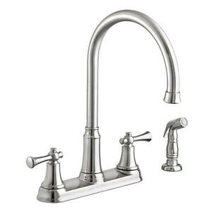 Portsmouth High Arc 2 Handle Standard Kitchen Faucet W Sprayer
