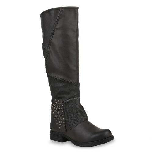 Damen Bikerstiefel Schuhe Stiefel Biker Boots Nieten 820098 Trendy Neu