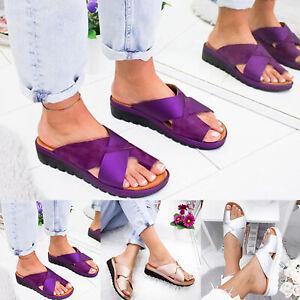 Women Orthopedic Sandals Slippers Mules Wedge Sliders Flats Fashion Shoes Sizes